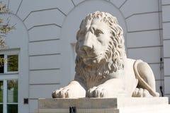 Скульптура льва около королевского дворца в Варшаве, Польше Стоковое Фото