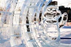 Скульптура льда дракона Стоковые Изображения