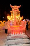 Скульптура льда дракона Стоковая Фотография RF