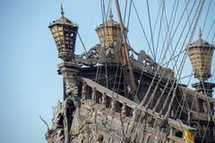 Скульптуры и украшение на сосуде пирата Стоковые Изображения