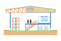 Складируйте здание, раздел хранения, иллюстрация вектора иллюстрации вектора дизайна структуры Стоковое Фото