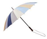 Складчатость Open striped зонтик изолированный на белизне стоковая фотография rf