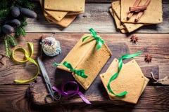 Складывая коттедж пряника рождества Стоковые Фото