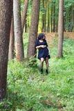 Склонность девушки на дереве смотрит в сторону Стоковые Фотографии RF