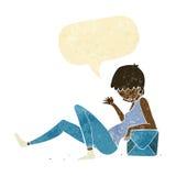 склонность женщины шаржа на коробке пакета с пузырем речи Стоковые Фото