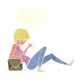 склонность женщины шаржа на коробке пакета с пузырем речи Стоковое Изображение