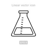 Склянка лаборатории Линейный значок вектора Стоковые Фото