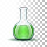 Склянка химической лаборатории прозрачная с зеленым цветом иллюстрация штока