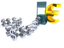 слабая евро доллара сильная Стоковое Изображение RF