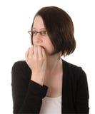 слабонервная думая женщина Стоковая Фотография