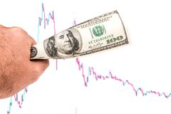 Слабый доллар с склоняя картиной диаграммы Стоковая Фотография