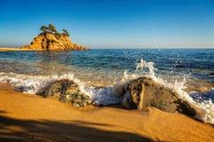 Славная деталь испанского побережья в Косте Brava, Playa de Aro Стоковое фото RF
