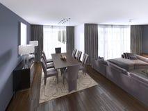 Славно украшенное роскошное прожитие, столовая Обеденный стол и некоторые стулья Дизайн интерьера иллюстрация вектора