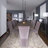 Славно украшенное роскошное прожитие, столовая Обеденный стол и некоторые стулья Дизайн интерьера бесплатная иллюстрация