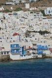 Славные взгляды от открытых морей маленького района Венеции в городе Chora на острове Mykonos История искусства Archite стоковые изображения