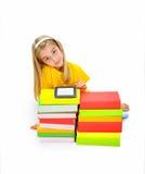 Славные девушка, книги и eBook Стоковые Изображения RF