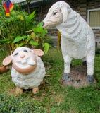 Славные смешные животные диаграммы овец в азиатском саде Стоковые Фото