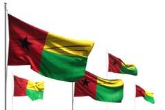 Славные 5 флагов Гвинеи-Бисау волна изолированная на бело- изображении с bokeh - любой иллюстрацией флага 3d случая бесплатная иллюстрация