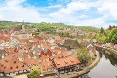 Славный взгляд исторического центра Cesky Krumlov, чехии Стоковые Изображения