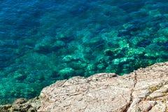 Славный взгляд моря Спокойное ясное море большие камни Адриатическое море Черногория Стоковые Изображения