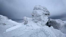 Славный взгляд от лужайки к горам в снеге, интересном свете и тумане Время для touristic приключений стоковое изображение rf