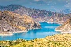 Славный взгляд резервуара Nurek в Таджикистане Стоковое Изображение RF