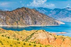 Славный взгляд резервуара Nurek в Таджикистане Стоковое фото RF