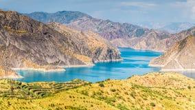 Славный взгляд резервуара Nurek в Таджикистане Стоковое Изображение