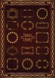 Славный винтажный цвет золота свирли рамки иллюстрация штока
