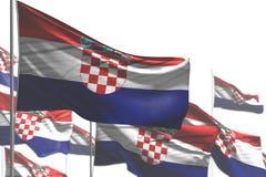 Славный любая иллюстрация флага 3d случая - много флагов Хорватии развевать изолированных на бело- фото с мягким фокусом иллюстрация вектора