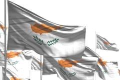 Славный много флагов Кипра развевать изолированных на бело- изображении с bokeh - любой иллюстрацией флага 3d случая иллюстрация штока