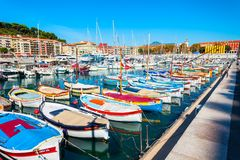 Славный порт со шлюпками, Франция стоковое фото rf