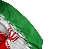 Славный флаг Ирана с большими створками положенными в нижний левый изолированный угол на бело- любая иллюстрация флага 3d случая иллюстрация штока