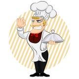 Славный шеф-повар служа блюдо Еда повара шеф-повара служа Милые повара персонажа из мультфильма в форме и удержании Cloche рестор иллюстрация штока