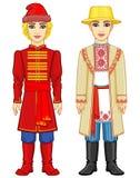 Славянские люди Портрет анимации русского и белорусского человека в традиционных одеждах иллюстрация штока