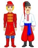 Славянские люди Портрет анимации русского и украинского человека в традиционных одеждах Восточная Европа иллюстрация штока