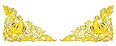 Славянский фольклорный орнамент с золотой птицей счастья Стоковое Фото