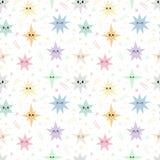 Сладкая безшовная картина с красочными звездами Романтичная печать неба Предпосылка милой руки вычерченная стоковое изображение rf