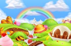 Сладкая земля конфеты Предпосылка игры мультфильма r иллюстрация штока