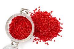 Сладкие красные сердца для украшать пирожные стоковые изображения rf
