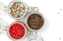 Сладкие пестротканые ингредиенты для украшать пирожные стоковое изображение