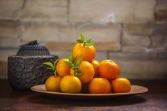 Сладкий апельсин, китайский фестиваль весны, спасибо дань, везение хиа Fu большое, стоковые фотографии rf
