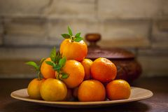 Сладкий апельсин, китайский фестиваль весны, спасибо дань, везение хиа Fu большое, стоковая фотография