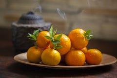 Сладкий апельсин, китайский фестиваль весны, спасибо дань, везение хиа Fu большое, Стоковое Изображение
