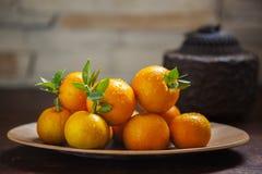 Сладкий апельсин, китайский фестиваль весны, спасибо дань, везение хиа Fu большое, Стоковое фото RF