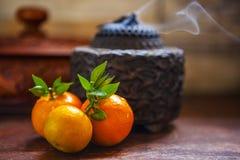 Сладкий апельсин, китайский фестиваль весны, спасибо дань, везение хиа Fu большое, стоковые изображения rf