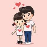 Сладкое объятие мальчика и девушки совместно бесплатная иллюстрация