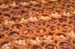 Сладкое турецкое наслаждение с грецкими орехами стоковая фотография rf