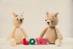 Сладостная кукла плюшевого медвежонка пар влюбленн в текст влюбленности и красный knit Стоковая Фотография