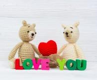 Сладостная кукла плюшевого медвежонка пар влюбленн в текст влюбленности и красный knit Стоковые Фотографии RF